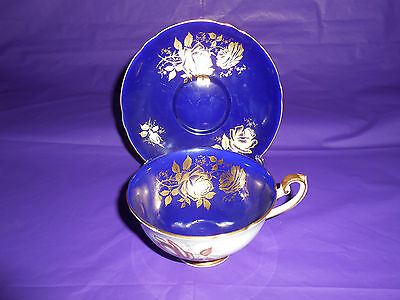 Shelley Cobalt Blue Gold Rose China Cup & Saucer
