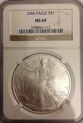 2006 American Silver Eagle - NGC MS69, Mint State, 1 Oz. .999, Almost Perfect