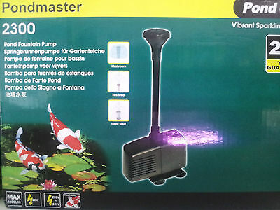 Garden Pond Fountian Pump 2200lph, 3 year Australian warranty