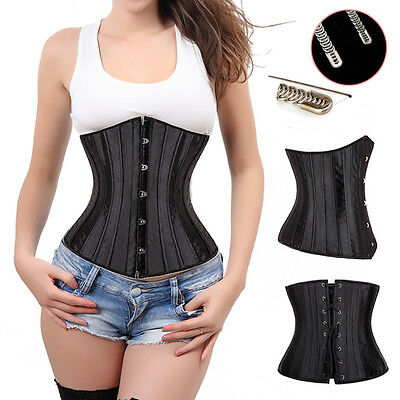 24 Spiral Steel Boned Lace Up Underbust Corset Waist Training Basque Shaper #K