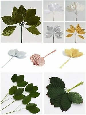 Miniature Satin Leaves - 5 Colours Green Gold Silver White Craft Embellishment