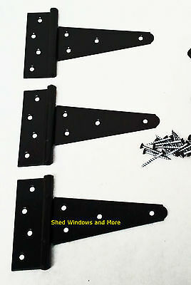 """6"""" Heavy Duty Shed T Hinges (set of 3) Gates Shed Barn Door Playhouse"""