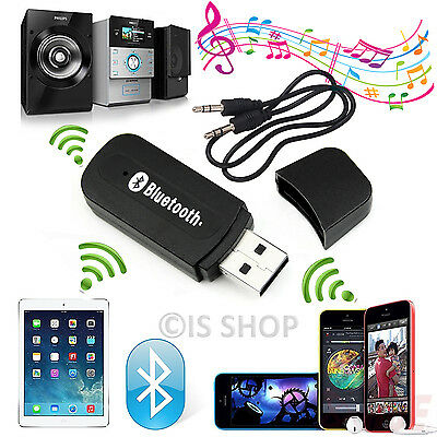 USB Bluetooth Audio Receiver Adapter Wireless Music 3.5mm Aux Dongle A2DP In Car