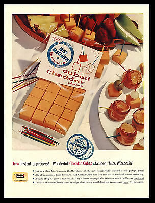 Original 1957 Miss Wisconsin Cubed Cheddar Cheese Vintage Advertising Print Ad
