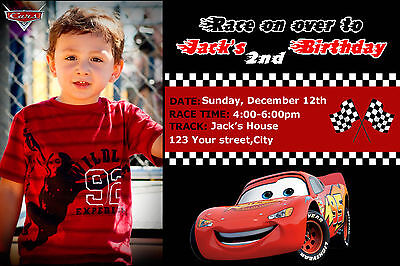 Disney Pixar Cars McQueen Birthday Party Invitations for a boy 1st 2nd 3rd photo