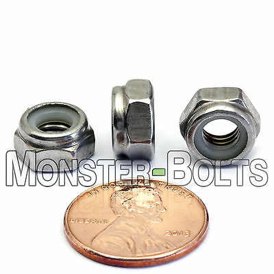 M6-1.0 / 6mm - Qty 10 - Nylon Insert Hex Lock Nut DIN 985 - A2 Stainless Steel