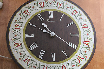 Retro Vintage Ingraham Wall Clock Tulips Kitchen Clock