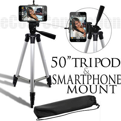 50 Inch Tripod + Smartphone Mount For Samsung Galaxy S4 mega and More