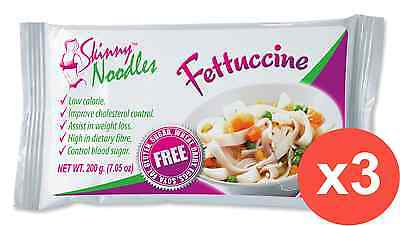 Case of 3 Skinny Noodles-Fettuccine 200g, Shirataki, Dukan, Atkins,Low Carb,Slim