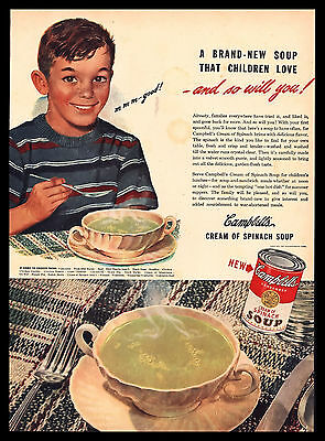Original 1948 Campbell's Cream of Spinach Soup Vintage Advertising Art Print Ad