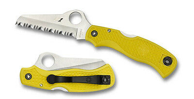Spyderco Saver Salt Knife Yellow FRN Handle H-1 Combo Edge C118SYL