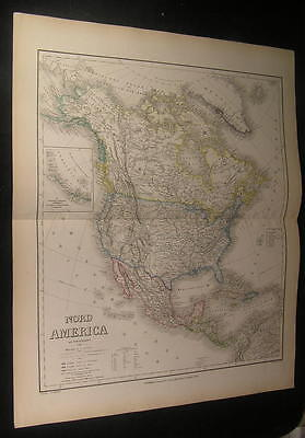 North America w/ Territories 1856 fine huge antique old color map