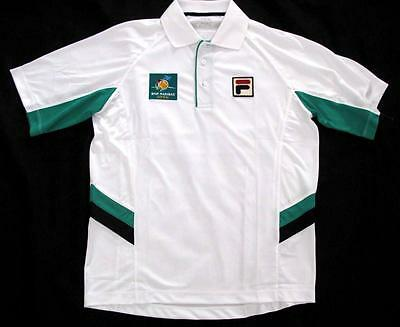 FILA BNP PARIBAS TENNIS OPEN POLO SHIRT WHITE GREEN Adult-S =Kids-XL rare-ticket