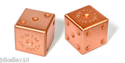 Pair Of .999 Fine Copper Dice 1 Oz Each Gaming Gambling 2 Ounce Bullion