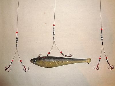 30# ICE FISHING BLEEDING QUICK STRIKE / SMELT RIG (3-Pack) Northern Pike  TIP UP