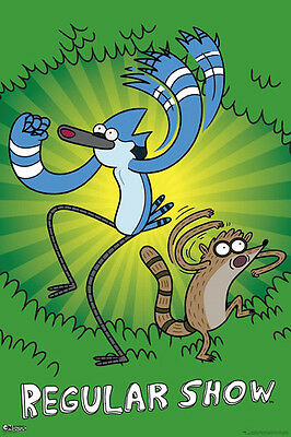 Regular Show - Green POSTER 60x90cm NEW * Mordecai Rigby cartoon character