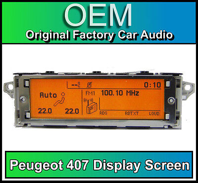 Peugeot 407 display screen, RD4 radio LCD Multi function clock dash BRAND NEW