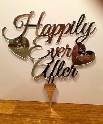 Personalised Wedding Mr & Mrs Heart Cake Topper  in Acrylic Mirror Finish
