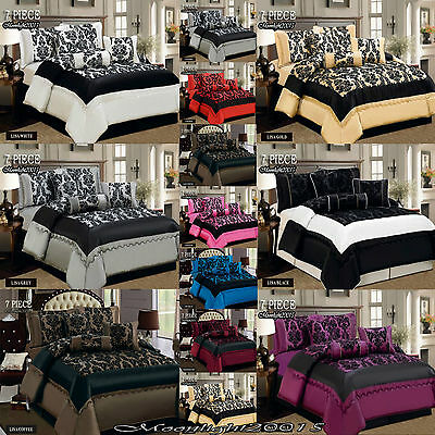 Luxury 7 Piece Comforter Set, Bedspread Bed Spread with Matching Cushion Cover
