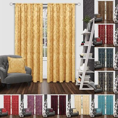 JACQUARD CURTAINS,Fully Lined Ready Made Tape Top Pencil Pleat Curtains+Tie Back