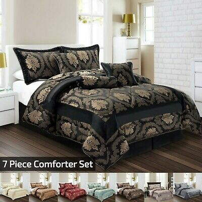 New  7Pc (Piece) Comforter Set Quilted Bedspread Double & King Size Bedding Set