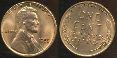 United States, 1955-S One Cent, Lincoln Wheat - Choice Uncirculated