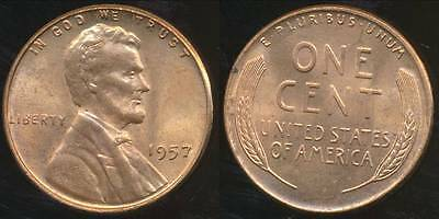 United States, 1957 One Cent, Lincoln Wheat - Uncirculated