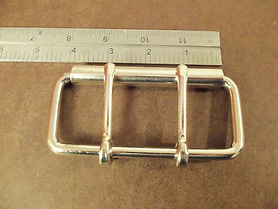 "4"" Nickel Plated / Steel Double Tongue Roller Buckle"