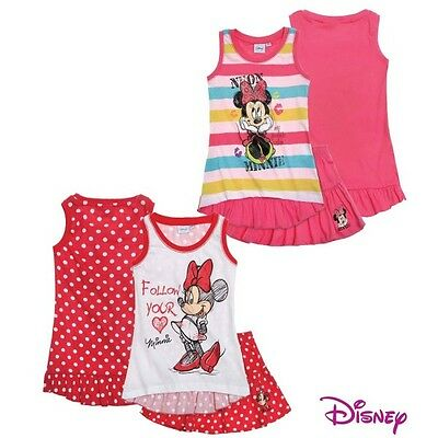 NUOVO completo top canott gonna DISNEY MINNIE cotone bimba bambina 2 3 4 5 6 7 8