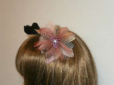 Juelz Dusky Pink Flower Beads Feather  Fascinator / Comb Wedding Prom*