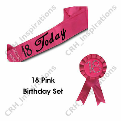 Hot Pink '18 Today' Satin sash + Pink 18th Birthday Rosette NEW