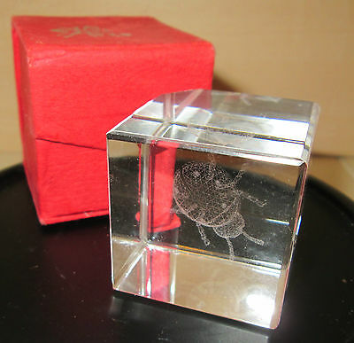 3D Laser Etched Ladybug Figurine Glass Crystal Block Paperweight 360 view