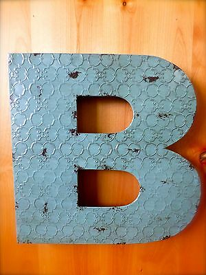 """INDUSTRIAL BLUE METAL WALL LETTER /""""U/"""" 20/"""" TALL rustic vintage decor antique sign"""