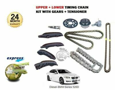 For Bmw 5 F10 F18 520D N47D20C 184Bhp 2010-8/2013 Upper + Lower Timing Chain Kit