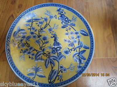 "VINTAGE FLORAL HANDPAINTED 10""  BLUE YELLOW ORIENT  STYLE DECORATIVE WALL PLATE"