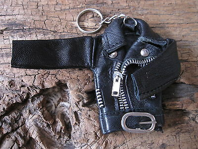 AWESOME GENUINE LEATHER BIKER JACKET KEYCHAIN ! MUST SEE !