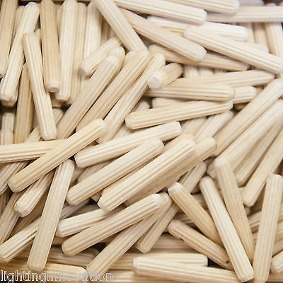 6mm x 40mm HARDWOOD DOWELS GROOVED FLUTED PIN WOODEN WOOD BEECH DOWEL CERTIFIED