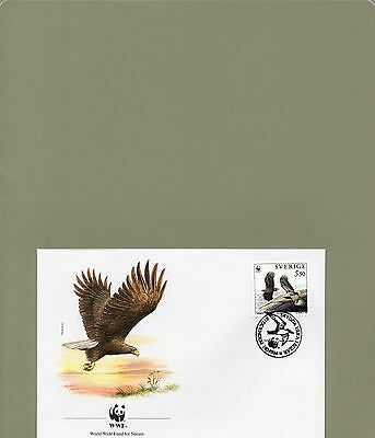 Timbre Fdc Wwf Animaux Oiseaux Rapaces Suede / Wwf Stamps Fdc Animals Birds