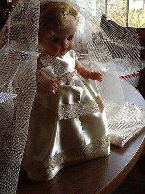 """Vintage Bride Doll 10"""" Tall Approx. in Ivory Colored Gown & Veil"""