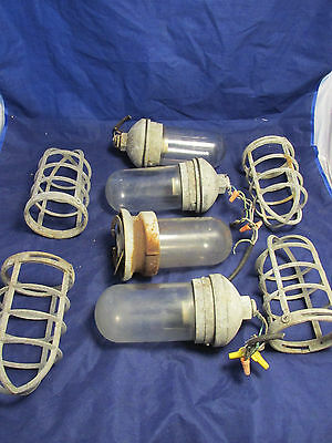 Vintage Steampunk Industrial Bullet Cage Wall Light Lamp Set