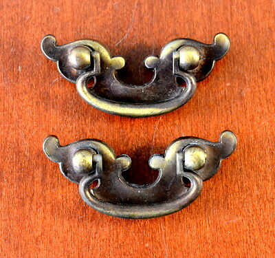 Set of 2 Vintage SMALL Keeler Brass Furniture Pulls K-12833 Holes 1 1/4""
