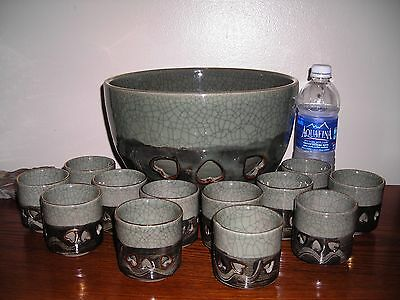 Vintage Japananese Somayaki,60's Bowl And Cup Set, Double Wall,13 Pieces,Signed