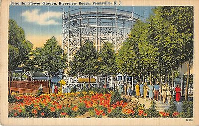 Pennsville New Jersey Riverview Beach Park Flower Garden Antique Postcard V17258