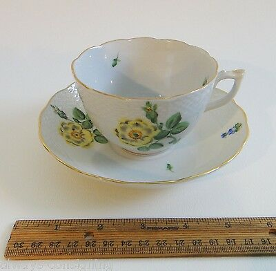 BEAUTIFUL OLD HEREND FLORAL FLOWER TEA CUP & SAUCER~DATED 1941~HUNGARY~4
