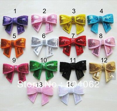 """5 x 2"""" Sequin bows perfect for headbands/hairclips 14 colours to choose from"""