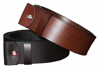 """100 % Full Grain Leather Belts -Snap On - 1.5"""" Wide - All Sizes- Without Buckle"""