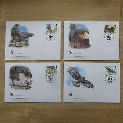 Lot Timbres 4 Fdc Wwf Animaux Oiseaux Rapaces / Wwf Stamps Fdc Animals Birds