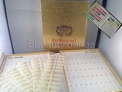 120 Gold Nail Tip Colour Chart Display Book With Tips For Uv/led Gel Polish