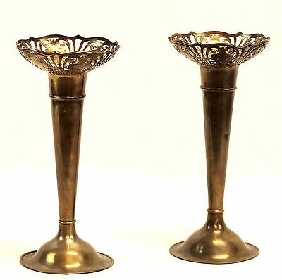 1921 Pair of Sterling Flower Vases- by R.F. Mosley & Co.- Sheffield- 575 grams