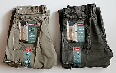 New Wrangler Men's Rip-Stop Cargo Pants Green and Khaki Colors All Sizes